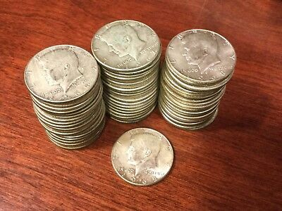 1965-1969 $30.50 Face-Value Roll 40%Silver Kennedy Half-Dollars (61 coins total)