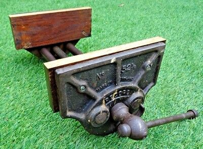 """OLD RECORD No 52½ QUICK RELEASE WOODWORKER'S BENCH VICE 10"""" Jaws open up to 11"""""""