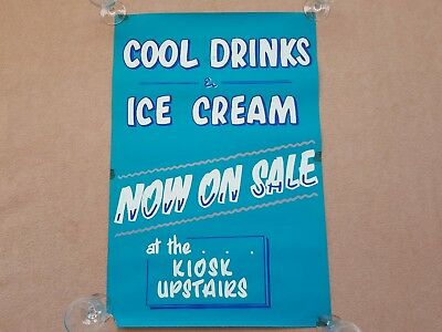 Original HAND PAINTED 1970's DRINKS & ICE CREAM Film / Movie Cinema Promo Poster