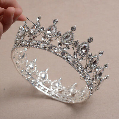 Teardrop Clear Austrian Rhinestone Crystal Tiara Hair Crown Silver Party C517s