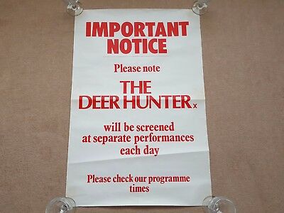 Original 1970's THE DEER HUNTER Cinema Film Promotional Poster