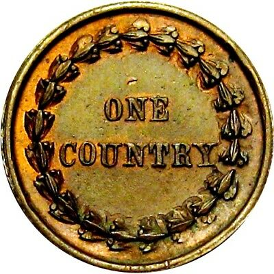 1863 Union & Liberty One Country Indian Head Patriotic Civil War Token R5