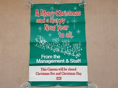 Original 1970's EMI Film Cinema Promotional MERRY CHRISTMAS FROM STAFF Poster