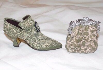Resin Miniature Shoe Shoes Green Boot Purse Ornaments Collectibles Victorian