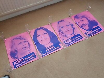 Original 1970's Set / Collection of ABBA THE MOVIE Cinema Promo Film Posters X 4