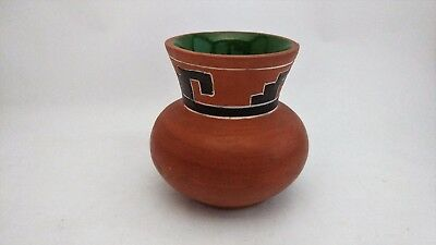 Mexico Small Red Clay Vase With Geometric Design - Signed by Artist