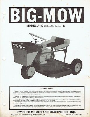 Swisher Big Mow Parts List for Model A-32