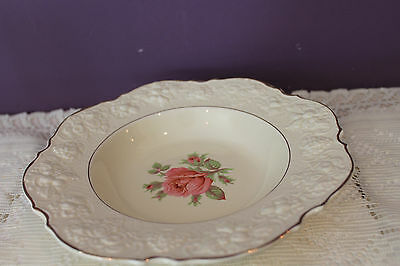 BEAUTIFUL CROWN DUCAL RIMMED SOUP BOWL(s) - IVORY WITH PINK ROSE - GOLD TRIM