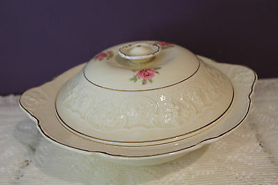 Lovely Crown Ducal England Covered Serving Bowl - Ivory With Pink Rose Gold Trim