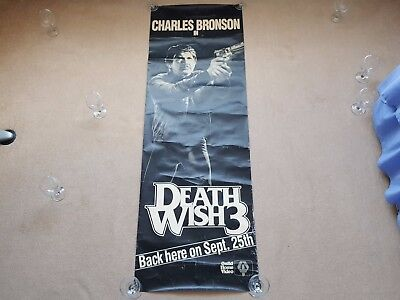 Original 1980's DEATH WISH 3 Long Promotional Cinema Film / Movie Poster