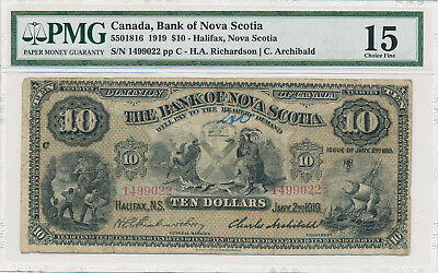 Bank of Nova Scotia Canada 10 Dollars 1919 - PMG 15 Choice Fine