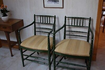 pair faux bamboo arm chairs painted
