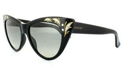 700bb660eabbf GUCCI GG 3806 S Women Sunglasses Black Gold Cat Eye Grey Gradient 807DX