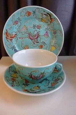 Vintage Jingdezhen Trio Cup Saucer & Side Plate - Turquoise Floral/Butterfly