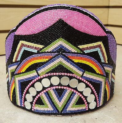 New Tall Hand Crafted Cut Beaded Native American Indian Princess Crown!!
