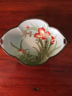 Vintage Hand Painted Nippon Small Porcelain Leaf Shaped Dish With Orange Flowers