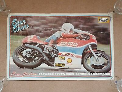 Original 1970's / 1980's RON HASLAM Motorcycle Weekly STAR SHOTS Vintage Poster