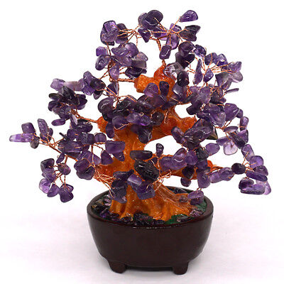 Amethyst Money Tree Healing Crystal Ornament Natural Stone Lucky Feng Shui Decor