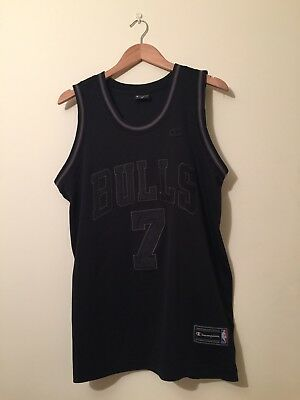 Chicago Bulls Champion All Black Jersey / Shirt NBA M
