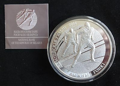 2012 Silver Proof 5Oz Belarus 100 Roubles Coin + Coa Olympic's Skiing 1/750