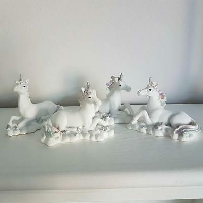 Set Of 4 White Unicorn Ornaments Figurines Laying On A Cloud Boxed Gift