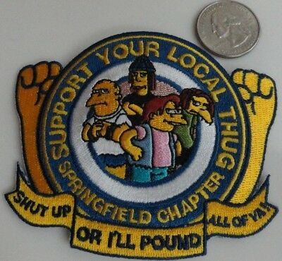 Springfield Local Thugs - The Simpsons Cartoon Embroidered Iron On Patch - Rare