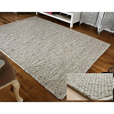 LARGE THICK GREY PEBBLES BOBBLES BOBBLY 100% WOOL 3D RUG 160x230cm CLEARANCE