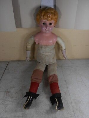 "Antique 21"" Doll Metal Tin Head Porcelain Hands Straw Soft Body Leather Limbs"