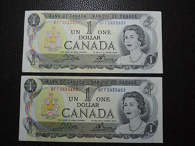 x2 pcs 1973 $1 Dollar Bank Note CANADA Consecutive Bills BFF2435601-02 EF GRADE