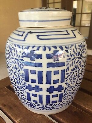 Fine Old Chinese Blue White Ginger Jar Porcelain Double Happiness 2 Rings Art #2