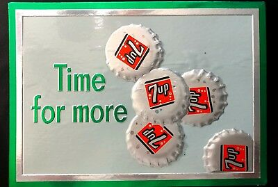 "Vintage  Original 1965 ""Time For More"" 7 Up Soda Cardboard  Sign"
