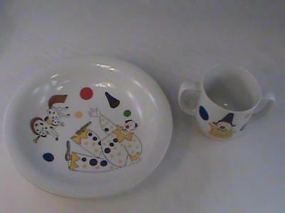 "Vintage Rorstrand ""CIRKUS"" Child Cup Bowl Set Mid Century Sweden Clowns L@@K!"