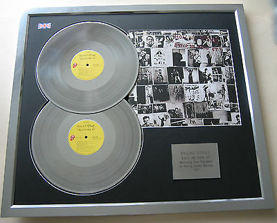 THE ROLLING STONES Exile On Main St PLATINUM DOUBLE LP Disc & Cover Presentation