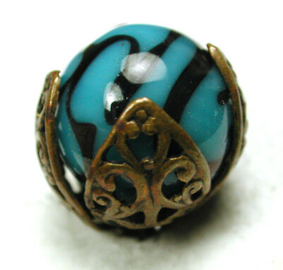 """Antique Glass in Metal Button Turquoise Swirl Ball in Brass Filigree - 9/16"""""""