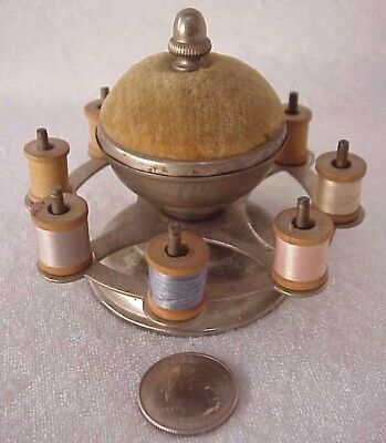 Antique Victorian Sewing Thread Lazy Susan Spool Caddy / Holder & Pin Cushion