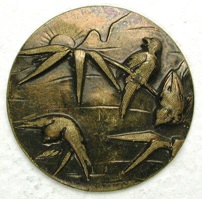 """Antique Brass Button Swallows at Sunset Scene - 15/16"""""""
