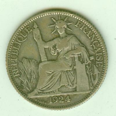 French Indochina Silver 1924 20 Cents-Lot E8