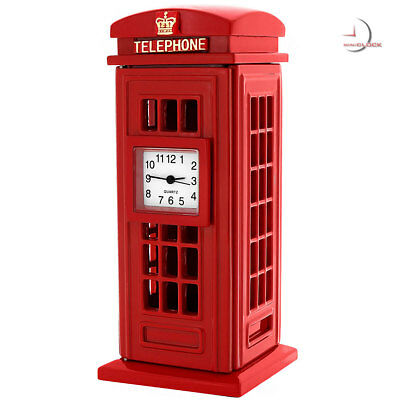 BRITISH RED PHONE BOOTH Collectible Miniature Clock Gift