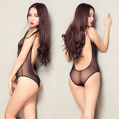 High Cut Sheer Thong Bodysuit Leotard Sexy Women's Lingerie One-Piece Swimwear