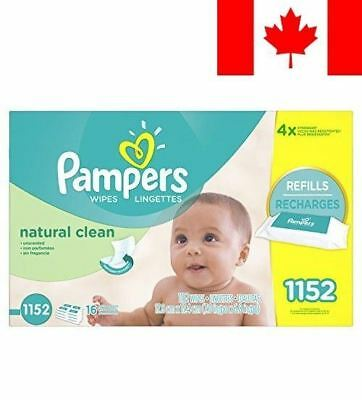 Pampers Baby Wipes, Natural Clean UNSCENTED 16X Refill Packs, 1152 Count (Packag
