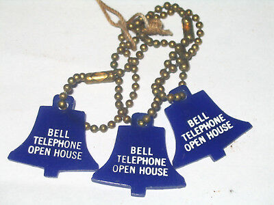 3 Vintage Bell Telephone Long Distance Adv Bakelite or Plastic Key Chains