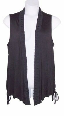 EXTRA TOUCH 1X 2X Black Crochet Detail Sleeveless Open Front Vest Top-NWT