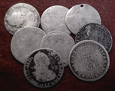 8 Very Old Spain Silver Coins....low Grade Hoard.....min. Bid .01 & No Reserve!