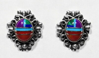 Signed Zuni Inlay Turquoise Oyster Lapis Sugulite Coral 925 Silver Post Earrings
