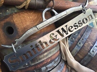 smith & wesson sign GAMBREL hunting guns metal plaque rustic garage art wall vtg