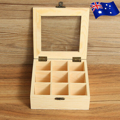 9 Compartment Wooden Tea Bag Storage Box Container Case &Glass Top Chest Tin AU