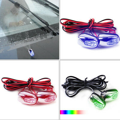 2PCS Auto Car LED Light Windshield Jet Spray Wiper Washer Decorative Lamp