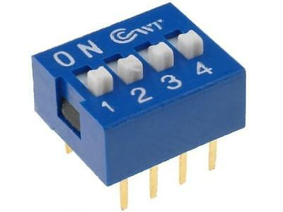 2x DS-04 Switch DIP-SWITCH Poles number4 ON-OFF 0.05A/12VDC -25÷80°C