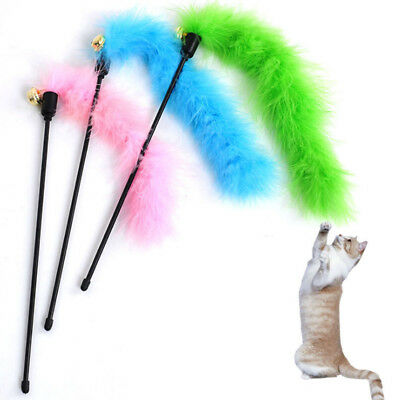 Pet Kitten Interactive Turkey Feather Teaser Fun Toy Wire Chaser Wand For Cat