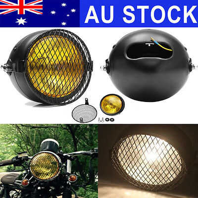 "AU 6.5"" Retro Motorcycle LED Headlight+Grill Side Mount Cover+Bracket Cafe Racer"